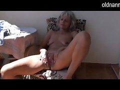 Naughty elder statesman Granny masturbating respecting toy