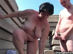 Chubby grandma with shake hard nipples gets fucked outdoors