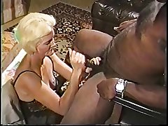 Blonde mature granny relating to lingerie loves sucking greater than a big hard black dick
