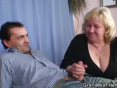 Gaffer granma hither stockings takes two cocks