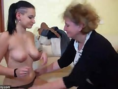 Old Granny with young Girl, granny masturbate with a plaything and with young Gir