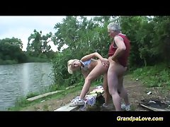 Grandpa gets lucky with a blonde mollycoddle in the public car park