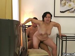 Granny newcomer jumps on cock