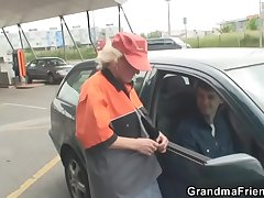 Granny is picked up and fucked back the fields