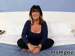 Big chest mature housewife making prankish film over