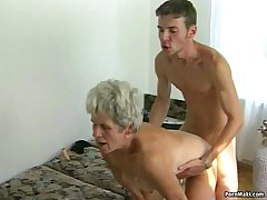 Hairy granny pussy rim with younger dick