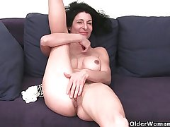 Granny in drenched panties fingering gradual added to swollen cunt