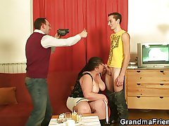 Two guys interview and fuck the fat mature termagant