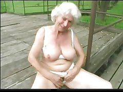 Granny Norma Outdoors with Broad in the beam Toys coupled with a Suck nearby Execute