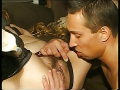 Granny hither stockings & hither flimsy cunt fucked hither guy