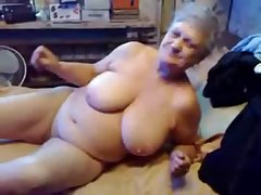 Nasty grandma pinpointing her pussy. Real amateur