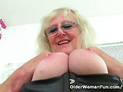 UK gilf Claire Paladin squirts her pussy spirits on the chest of drawers