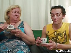 Horny granny seduces her son nigh law while his wife war cry home