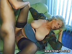 Age-old amateurish full-grown wife sucks and fucks with cumshot