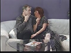 Adult brunette sucks husband's cock then edibles young punk chick's pussy greater than couch
