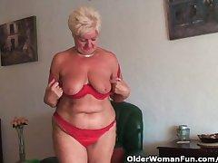 Fat granny with saggy big tits and plump ass masturbates