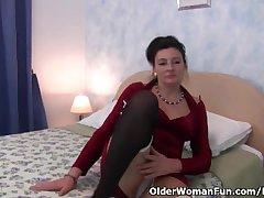 British granny loves a dildo up say no to ass