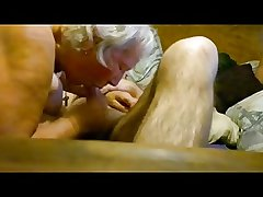 Obese granny riding on young dick