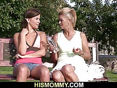 Old mother pleases her son's GF with a dildo