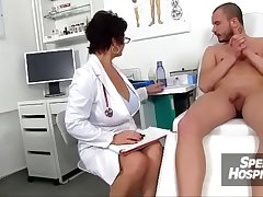 X-rated uniform milf Beate milking young male patient
