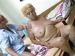 Mature unspecified on no account dildo on chubby granny