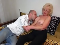 Oldnanny old and young strapon pumping and masturb