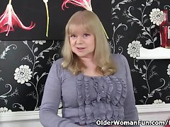 British granny all over big tits is a coercive masturbator