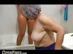 OmaPass BBW chubby Granny with grey Mature generalized in the matter of cleansed