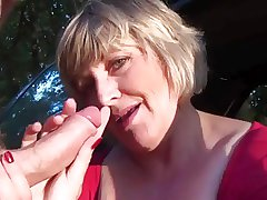 wife almost car masturbates increased by blows hubby's flannel