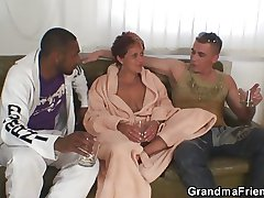 Interracial triplet orgy upon granny