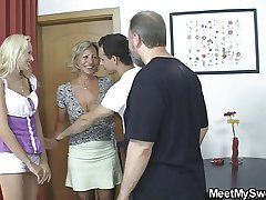 Blonde girl involved into 3some up his olds