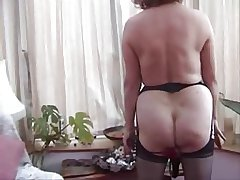 Granny w Pock-marked Pussy Strips coupled with Toys
