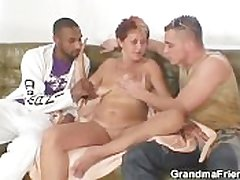Vitiated granny takes two cocks on request on call