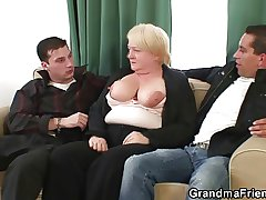 Two dudes remove up and bang well-oiled aged grandma
