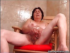 Over 70 granny there hairy pussy fucks a dildo