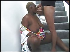 BBW BLACK GRANNY WITH FAT Exasperation FUCKED IN THE STAIRS