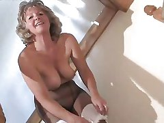 Loved Granny Wold Pantyhose Toying On The Steps