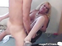 Hot Granny cougar in nylons fucks a young gleam