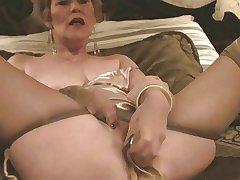 Aged Lady, Stockings & Dildo (Masturbation)