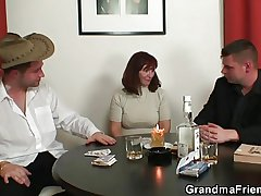 Granny plays strip poker then twin dicked