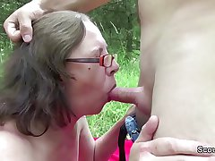 73yr superannuated Granny Soft-soap Fuck by 18yr superannuated german boy outdoor