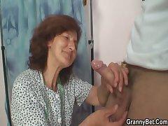 He slams sewing granny stranger behind