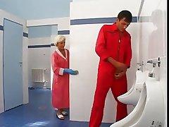 Bathroom flakes turns earn hot anal sex