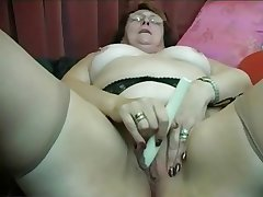 Granny Puts on Stockings then Fingers with an increment of Toys