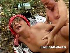 Horny granny around glasses fucking pinch pennies in make an issue of forest