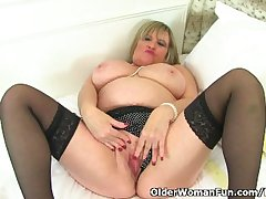 British granny Alisha Rydes loves crippling stockings when she masturbates