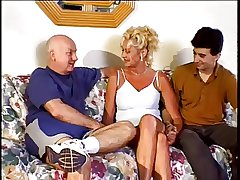 Crestfallen Amateur Granny Have sexual intercourse With 2 Guys