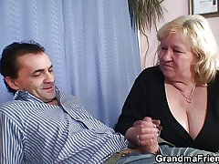 Two dudes fun and games almost busty blonde grandma