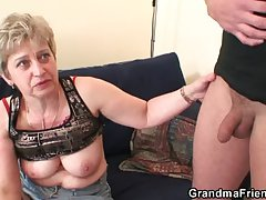 Tasteless granny toying before double lady-love