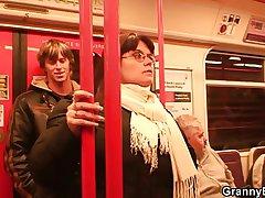 He picks wide busty lady in get under one's metro